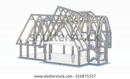 Construction of the small wooden house. Isolated on white background. - stock photo