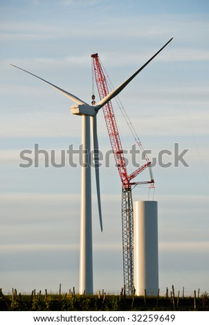 Construction of Wind Turbine - stock photo