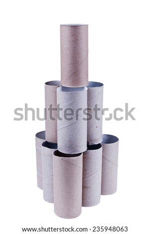 Construction or tower made of empty toilet paper rolls, isolated. - stock photo