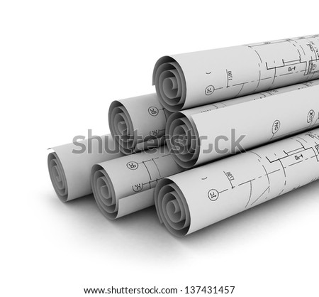 construction plan in rolls isolated - stock photo