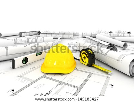 construction plan with other building fixtures - stock photo