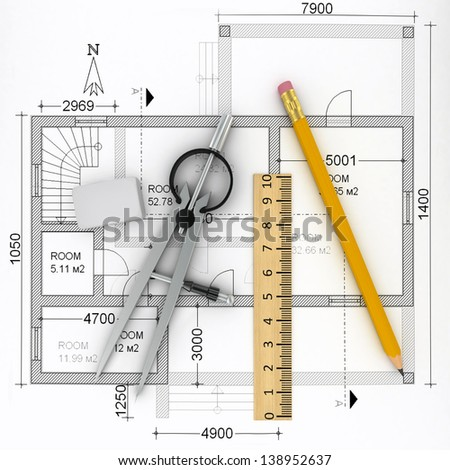 construction plan with scale and pencil, 3d - stock photo