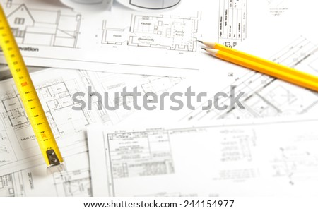 Construction planning drawings - stock photo
