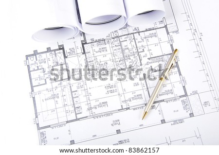 Construction plans, ball pen, business collage, paperwork - stock photo