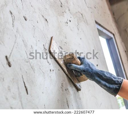 construction - plasterer concrete - stock photo