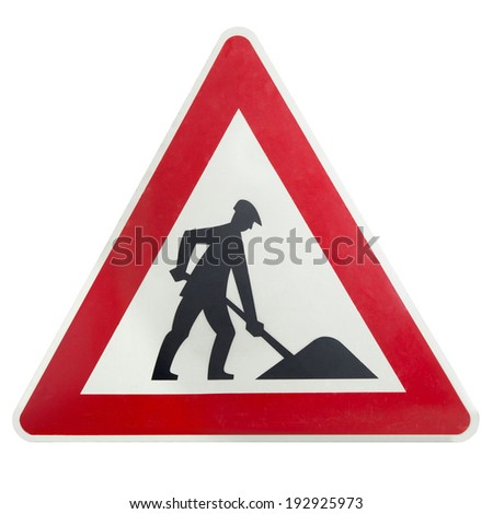 Construction road sign isolated hazard building site equipment - stock photo