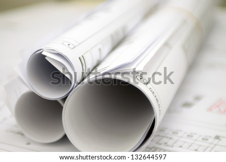 construction set drawings rolls - stock photo