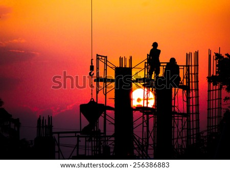 construction silhouette - stock photo