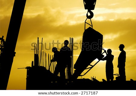 construction silhouette - stock photo