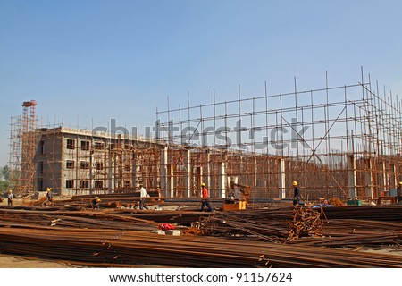 construction site, a sewage treatment plant, North China. - stock photo