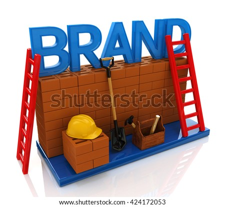 Construction site building brand text idea concept in the design of information related to business. 3d illustration - stock photo