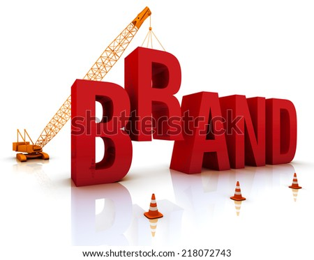 Construction site crane building a blue 3D text. - stock photo