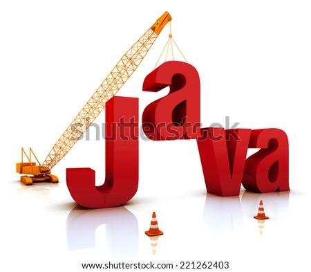 Construction site crane building a blue Java 3D text. Part of a series. - stock photo