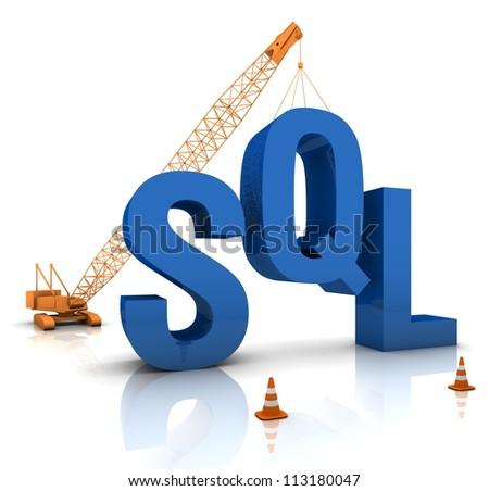 Construction site crane building a blue SQL 3D text. Part of a series. - stock photo