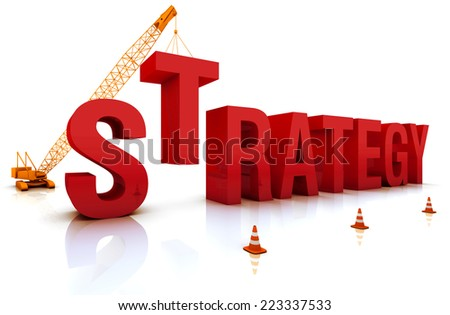 Construction site crane building Strategy 3D word. Part of a series. - stock photo