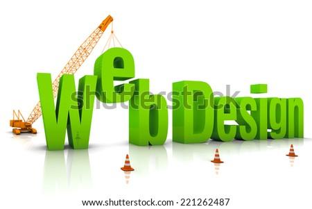 Construction site crane building Web Design 3D words. - stock photo