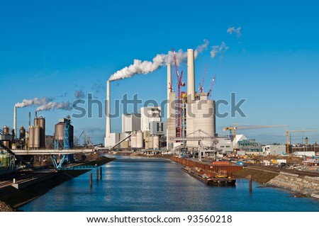 Construction site for a new coal fired power plant in Mannheim in Germany - stock photo