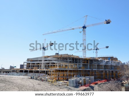 construction site for new condominiums - stock photo