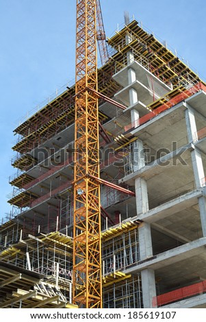 Construction site. High rise Building under construction. - stock photo