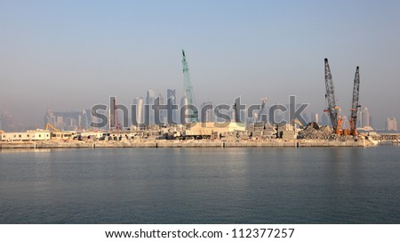 Construction site in Doha, Qatar, Middle East - stock photo