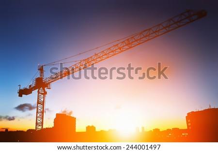 construction site (manual sunrise) - stock photo