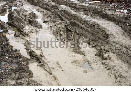 Construction site muddy roads - stock photo