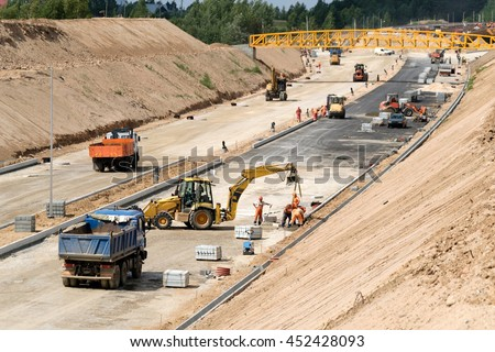 Construction site of a new highway - stock photo