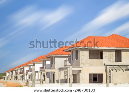 Construction site of home with sky background. - stock photo
