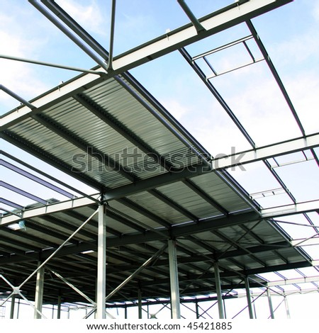 Construction site of modern storehouse - stock photo