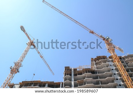 Construction site. Office building development. - stock photo