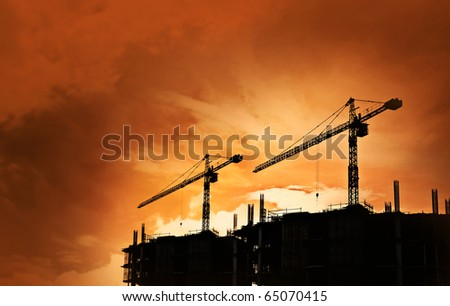 construction site silhouette background - stock photo