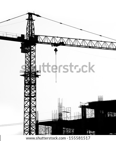 Construction Site silhouettes  - stock photo