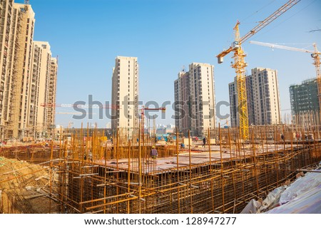 construction site under blue sky - stock photo
