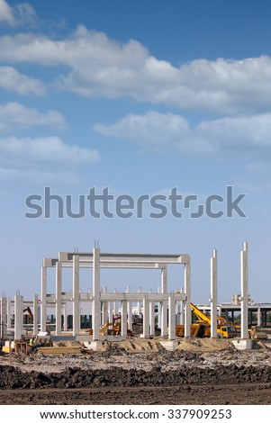 construction site with machinery industry - stock photo