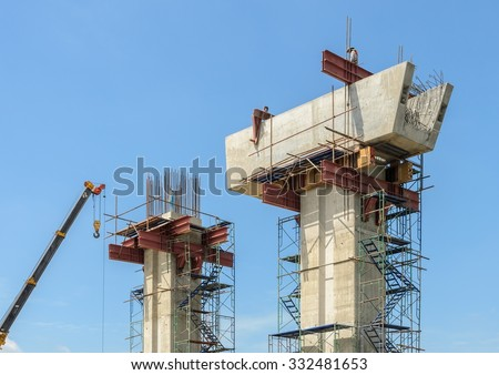 Construction supporting column of concrete bridge - stock photo