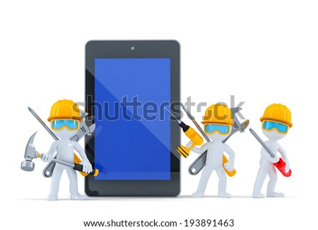 Construction team with tablet computer. Isolated. Contains clipping path - stock photo