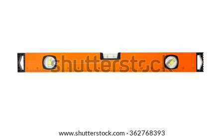 Construction tool spirit level on line of metal profile - stock photo