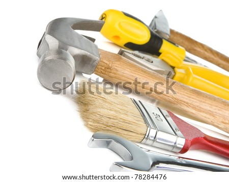 construction tools isolated on white background, - stock photo