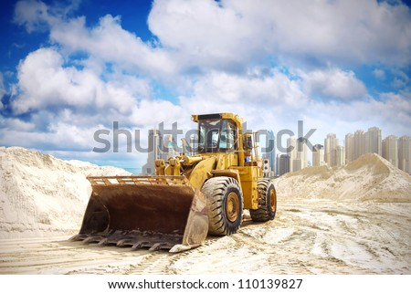 Construction tractor in Dubai, United Arab Emirates - stock photo