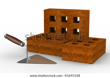construction trowel and bricks on white. 3D image - stock photo