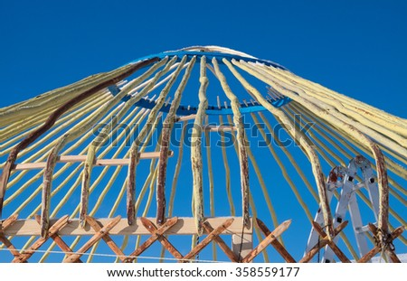 Construction Turkic yurts in Central Asia - stock photo