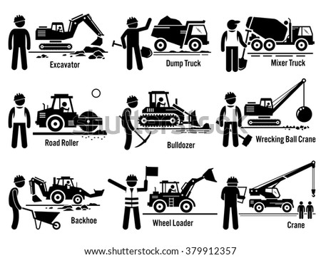 Construction Vehicles Transportation and Worker Set  - stock photo