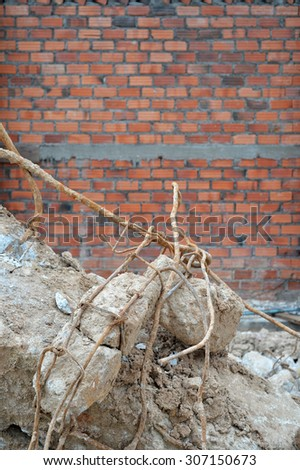 Construction waste debris, garbage bricks from demolished house - stock photo