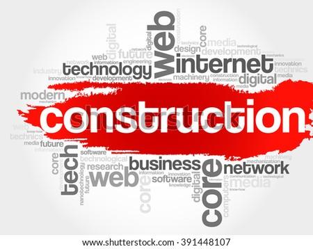 Construction word cloud, business concept - stock photo