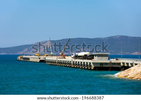 construction work of new terminal in port  - stock photo
