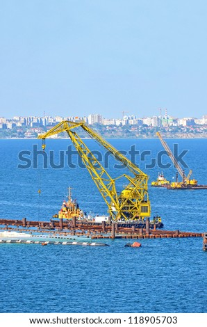 Construction work of new terminal in port, Odessa, Ukraine - stock photo
