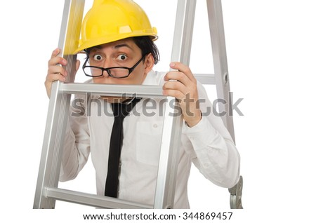 Construction worker in funny concept on white - stock photo