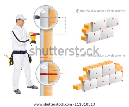 Construction worker in white overalls show in scheme how to install insulation of house walls - stock photo