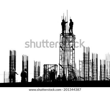 construction worker on construction site. - stock photo