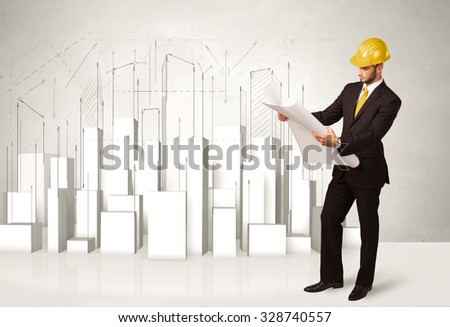 Construction worker planing with 3d buildings in background concept - stock photo